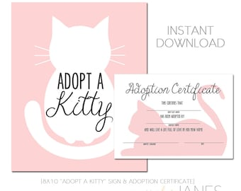 Kitty Adoption   Kitty Cat Party Printable   Kitty Cat Birthday   Adopt A Kitty  - Instant Download of digital files