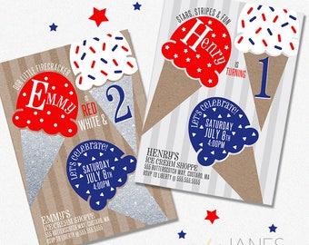Red, White, Blue Ice Cream Birthday Party Invitation   Digital 4th of July Invitation   4th of July Birthday - 5X7 with *bonus reverse side*