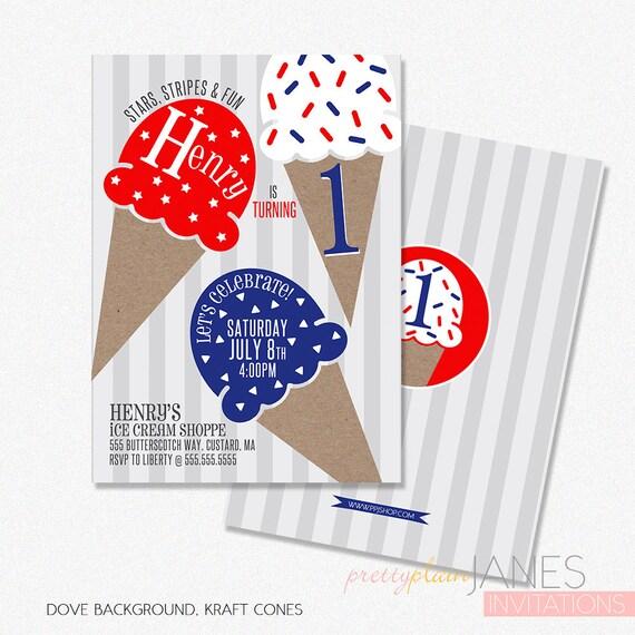red white blue ice cream birthday party invitation digital etsy