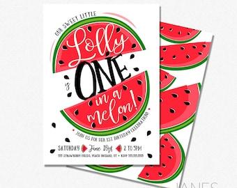 """ONE in a melon Invitation   1st Birthday Invite   Watermelon Invitation   Fruit Birthday Invite - 5X7 with *bonus reverse side"""""""