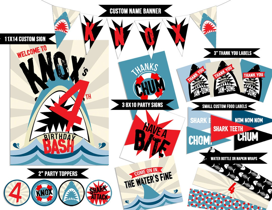 Shark Party Printables Pool Party Printables Shark   Etsy