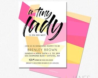 "Geo Baby Shower Invitation   Geometric Invitation   Gem Shower Invite   Gem Bridal Shower Printable - 5X7 with *bonus reverse side"""