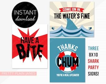 INSTANT DOWNLOAD Shark Signs   8X10 Shark Party Signs   Shark Birthday Decor   Shark Week Signs