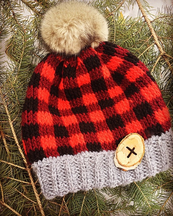 Buffalo plaid winter hat plaid toque plaid beanie plaid fur  0394979a1cd