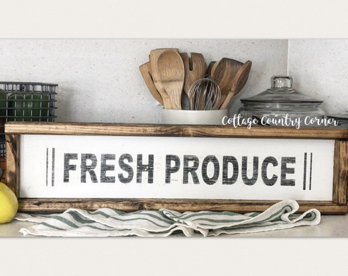 Fresh Produce Sign - Wood Produce Sign - farmhouse decor - farmhouse kitchen - farmhouse kitchen decor - kitchen decor - home decor