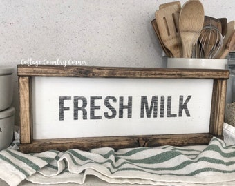 Fresh Milk Sign - Wood Fresh Milk Sign - farmhouse decor - farmhouse kitchen - farmhouse kitchen decor - kitchen decor - home decor