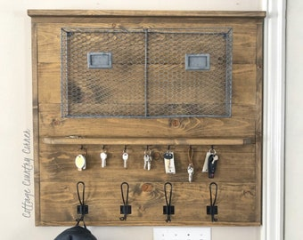 Entryway Coat Rack - Key Hanger - Mail Holder - Command Center - Shiplap Coat Rack - Coat Rack - Coat Rack Shelf - Entryway Coat Rack
