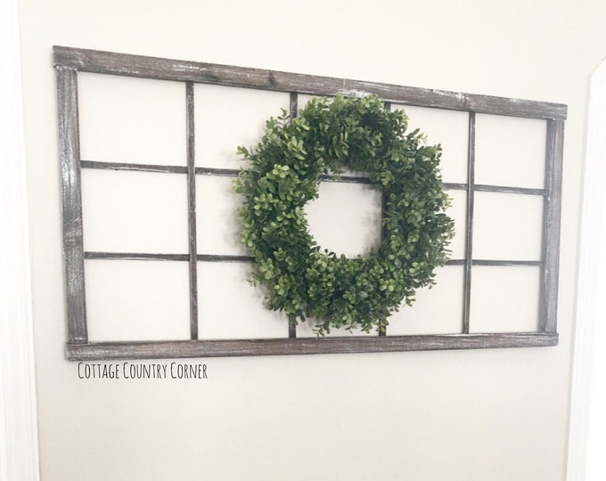 "Long Window Frame 48"" x 24"" - Window Frame Wall Decor - Faux Window Frame - Large window frame - Long Window Frame - Antique Window Frame"