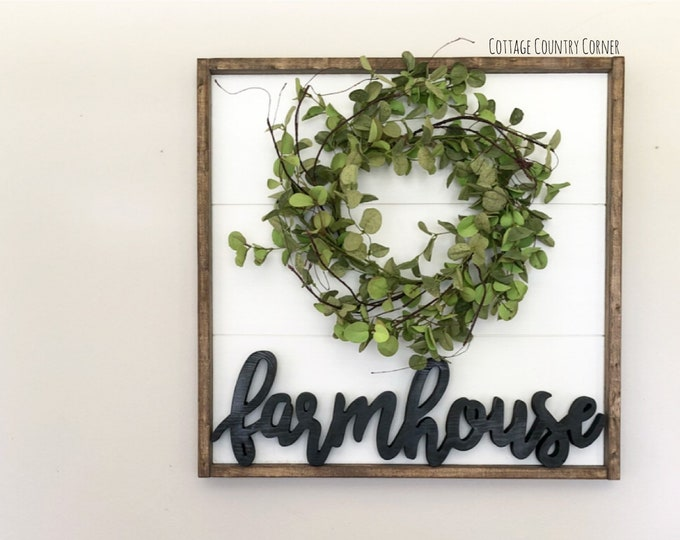 24 x 24 Farmhouse Wall Decor - Farmhouse Sign - Farmhouse sign with wreath - Wood Farmhouse Sign - Farmhouse Wood Sign - Farmhouse Decor
