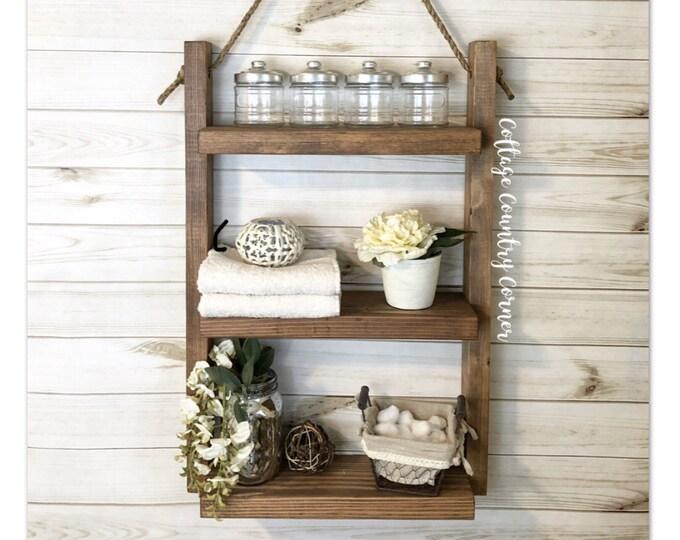 Medium Rustic Ladder Shelf- Rope Shelf - Rustic Wood and Rope Ladder Shelf, Bathroom Organizer, Entryway Shelf - Bathroom Shelf - Bath Decor