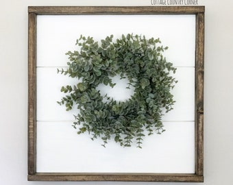 18 x 18 Shiplap sign with wreath