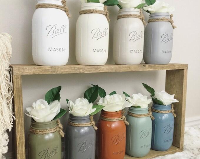 Painted Mason Jar - Mason Jars with flowers - Painted mason jars bathroom - Painted Mason Jars for kitchen - Farmhouse Decor