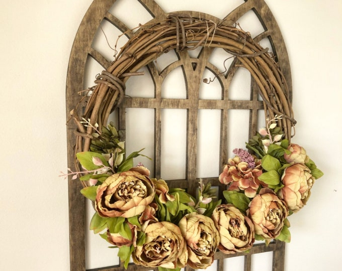Wreaths for Front Door - Peony Wreath - Rust Peony Wreath - Fall Wreath - Summer Wreath - Front Door Wreath - Farmhouse Wreath