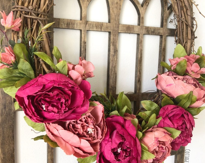 Spring Wreaths for Front Door - Peony Wreath - Punch Peony Wreath - Spring Wreath - Summer Wreath - Front Door Wreath - Farmhouse Wreath