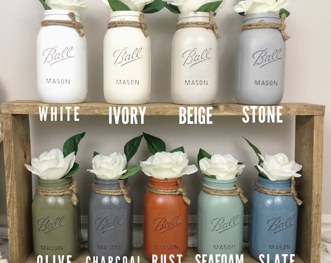 Set of 4 Painted Mason Jars