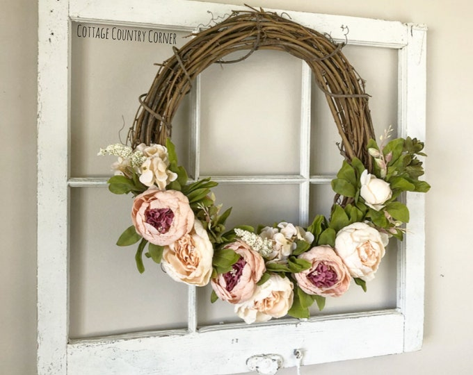 Spring Wreaths for Front Door - Peony Wreath - Blush Multicolored Peony Wreath - Spring Wreath - Summer Wreath - Front Door Wreath - Farmhou