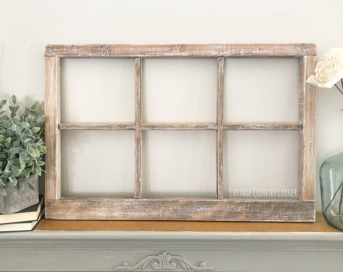 "Thick 6 Pane Window Frame 32"" x 21"" - Window Frame Wall Decor - Farmhouse Decor - Modern Farmhouse Decor - Faux Window - Antique Window"