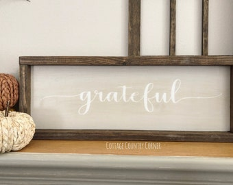 Grateful sign - Farmhouse decor - Wall Decor - farmhouse kitchen - farmhouse kitchen decor - kitchen decor - home decor