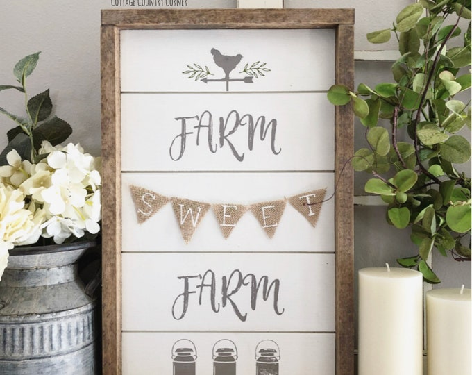 Farm Sweet Farm - Farm Sweet Farm sign - Farmhouse Wall Decor - Farmhouse Sign - Wood Farmhouse Sign - wall decor