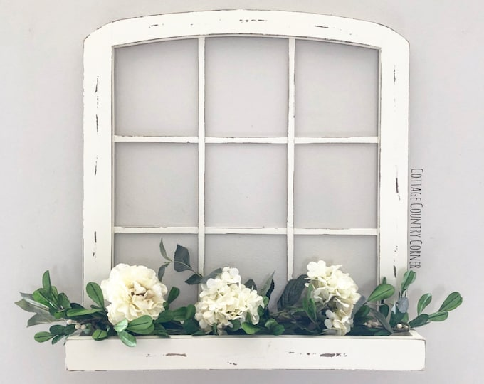 Arched Window Frame with planter - Window Frame Wall Decor - Farmhouse Decor - Window Frame with planter box - Window Frame - Arch Window