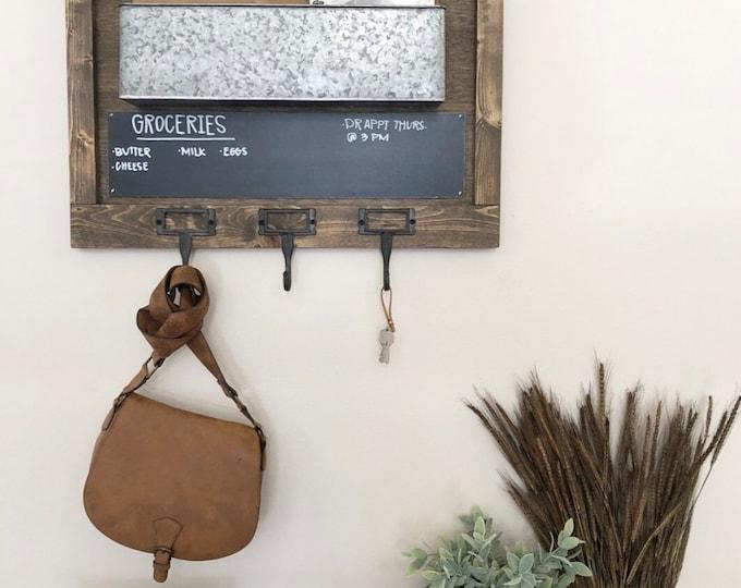 Mail Organizer - Chalkboard mail organizer - Key & Mail Holder, Rustic Organizer, Entryway Decor, Farmhouse Decor - chalkboard key holder
