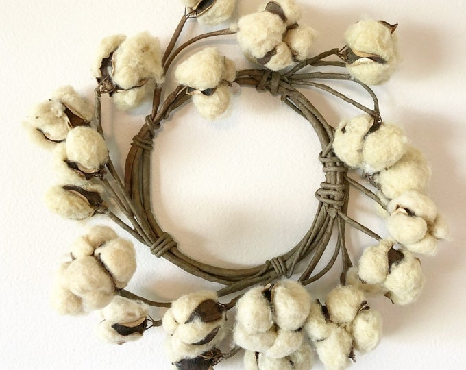 Tea Stained Mini Cotton Ball Wreath