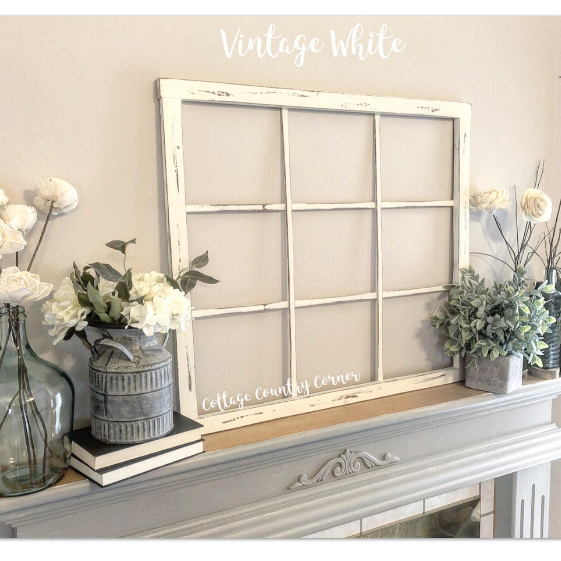 Window Frame 32 x 28 - Window Frame Wall Decor - Farmhouse Decor - 9 ...