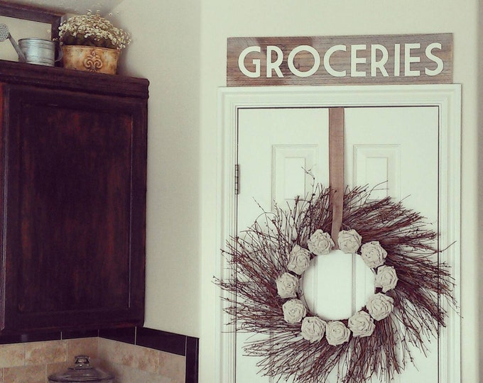 Reclaimed Wood Sign - Kitchen Groceries Sign - Barn wood sign