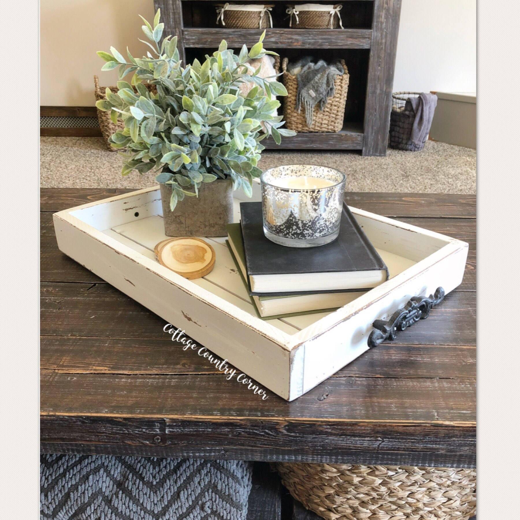White Coffee Table Tray: 14 X 20 Magazine Tray