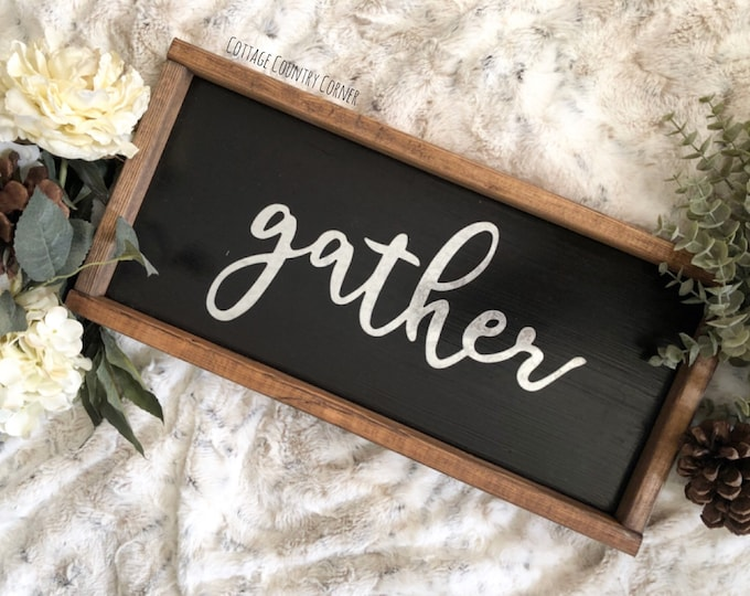 Small Galvanized Gather Sign - Gather Sign - Gather Wood Sign - Dining Room Signs | Dining Room Wall Decor | Thanksgiving Signs