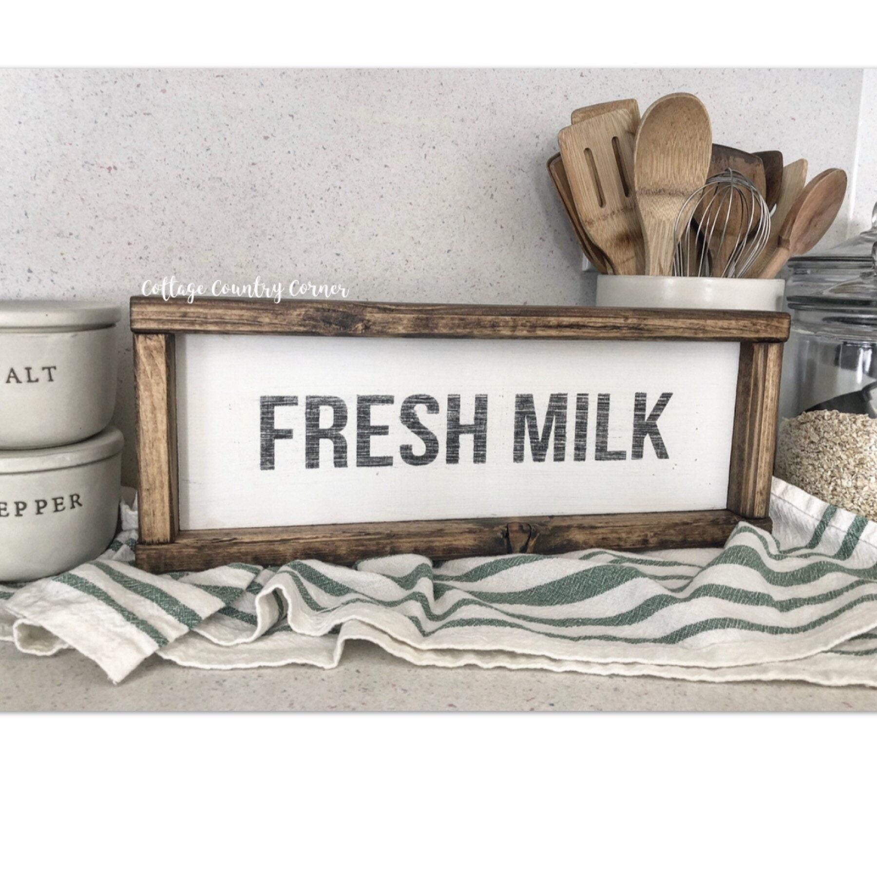 Fresh milk sign wood fresh milk sign farmhouse decor farmhouse kitchen farmhouse kitchen decor kitchen decor home decor