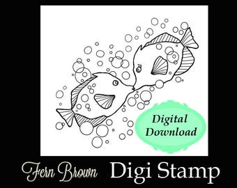 Adult Coloring Page Animals Digi Stamp Line Art Printable Download Book Kissing Fish By Fern Brown