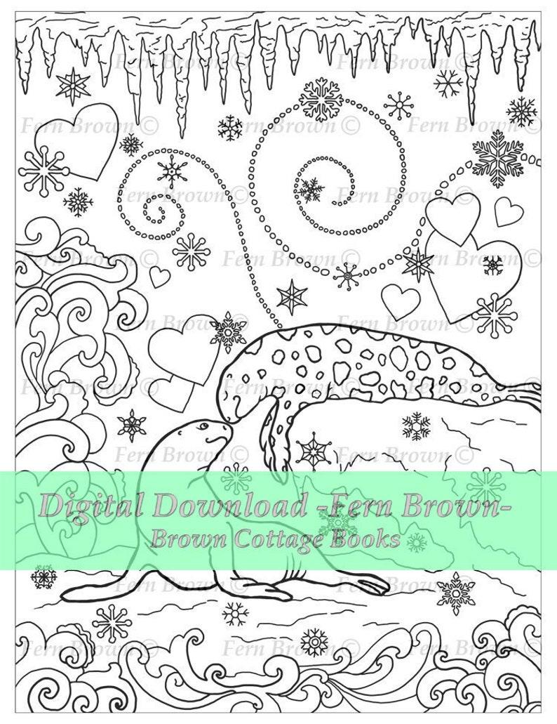 Kleurplaten Zeehond.Volwassen Kleurplaat Zeehonden Dieren Line Art Afdrukbare Etsy