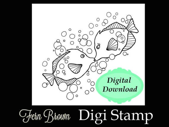 Kissing Fish Love Is All Around Coloring Pages - Download & Print ... | 428x570