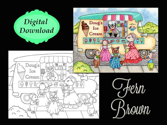 Penguin Adult Coloring Page Ice Cream Truck Penguins Printable Etsy
