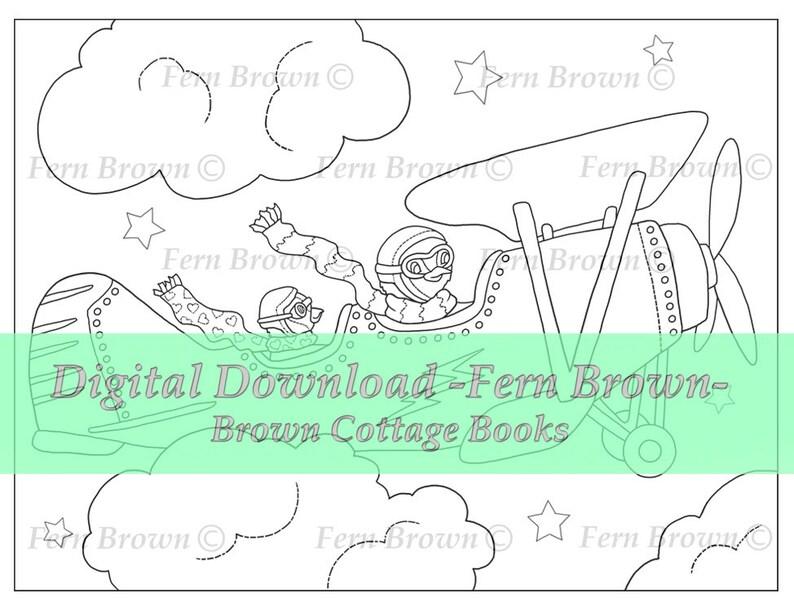 Penguin Airplane Ride Adult Coloring Page Season Printable Download Animal Digi Stamp Coloring Page Line Art Coloring Book Fern Brown