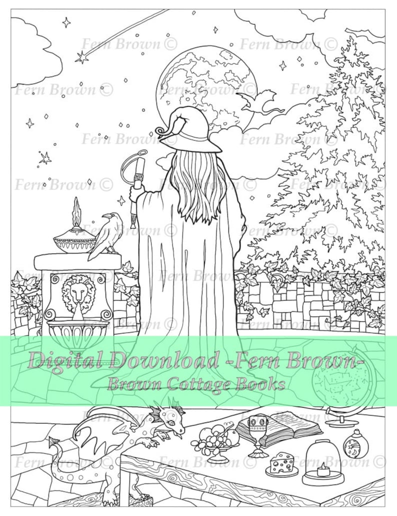 Adult Coloring Page Line Art Printable Download Fantasy Digi Stamp Coloring  Page Coloring Book Wizard Balcony by Fern Brown