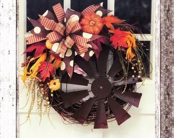 Fall wreath, autumn wreath, farmhouse wreath, harvest wreath, harvest decor, fall decor, autumn decor, pumpkin grapevine