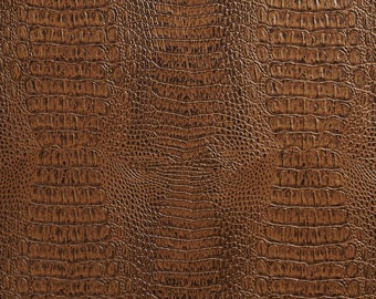Crocodile Faux Leather Upholstery Vinyl By The Yard G036 Brown