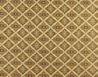 A0016E Beige Brown Gold and Ivory Embroidered Traditional Brocade Upholstery and Window Treatments Fabric by The Yard