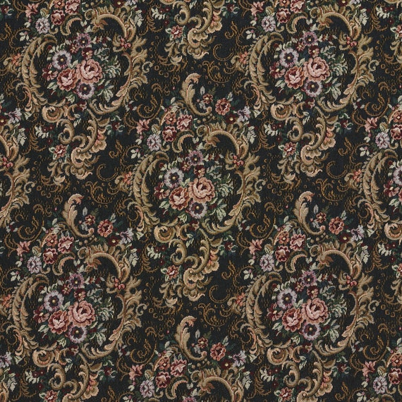 Navy Gold And Burgundy Floral Tapestry Upholstery Fabric By Etsy