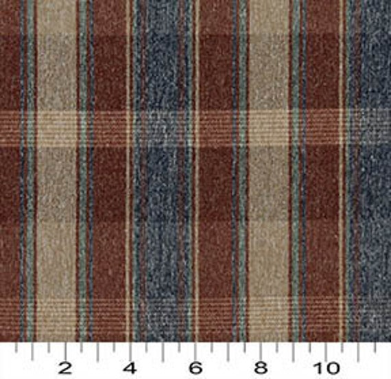 C640 Light Brown Green Ivory Large Plaid Country Upholstery Fabric By The Yard