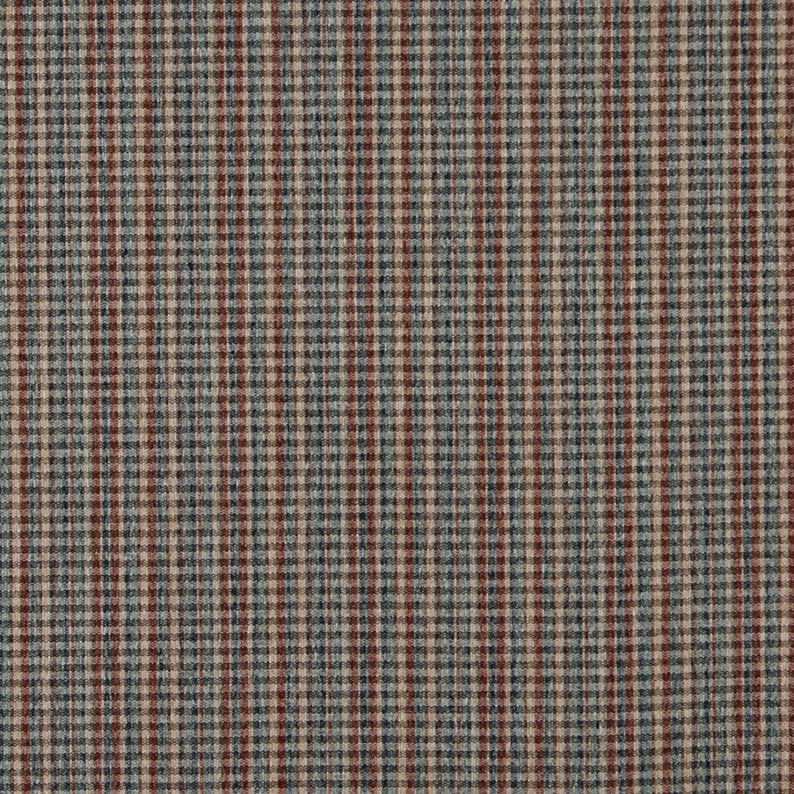 Pattern # C647 Blue Green Beige And Red Small Plaid Country Style Upholstery Fabric By The Yard