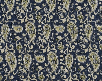 Blue and Off-White Traditional Paisley Jacquard Upholstery Fabric By The Yard | Pattern # E843