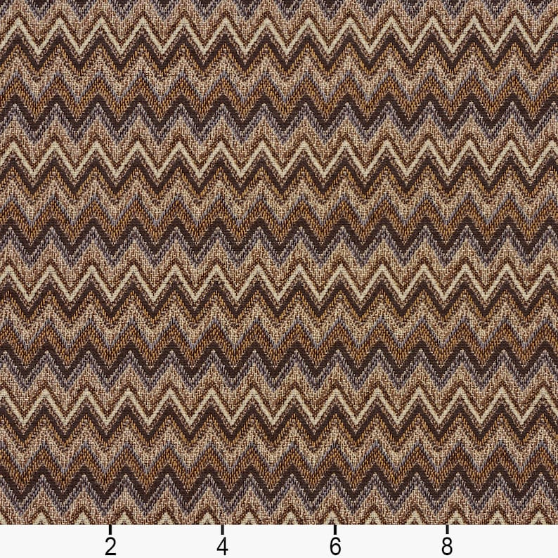 Pattern # E723 Brown and Gold Woven Chevron Flame Stitch Upholstery Fabric By The Yard