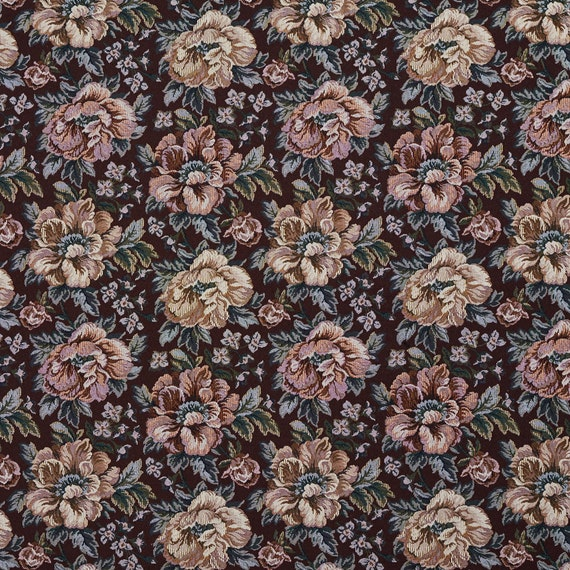 Green And Red Floral Tapestry Upholstery Fabric By The Yard Etsy