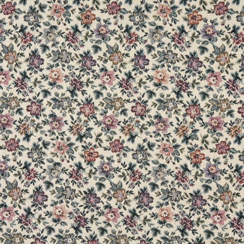 Pattern # F663 Beige Burgundy And Green Floral Flowers Tapestry Upholstery Fabric By The Yard