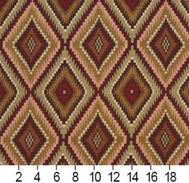 Brown and Light Green Woven Southwestern Diamonds Upholstery Fabric By The Yard Pattern # E724 Red