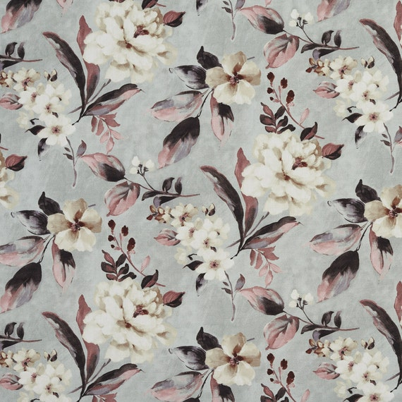 Seamist and off white magnolia flowers and leaves cotton print mightylinksfo