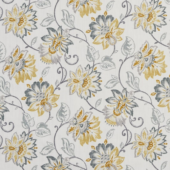 Gold And Grey Floral Vines Cotton Print Upholstery Fabric By Etsy